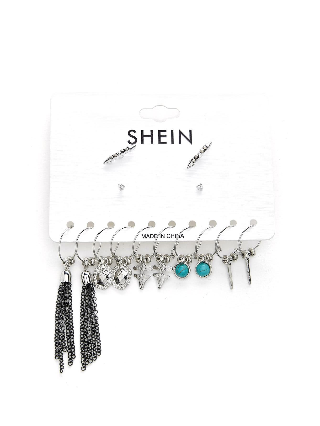 Chain Tassel & Turquoise Decorated Earring Set tassel decorated velvet chain flap bag