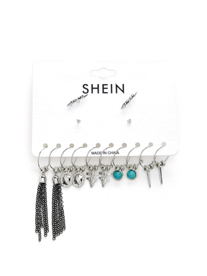 Chain Tassel & Turquoise Decorated Earring Set