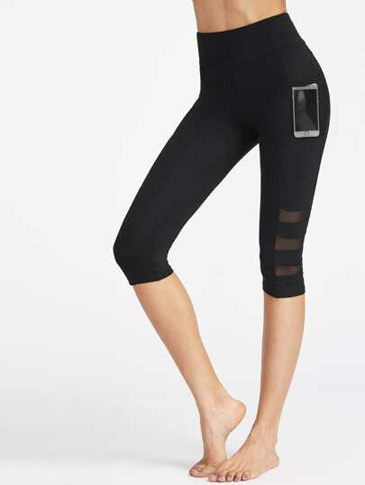 Wide Waistband Mesh Pocket Side Ladder Cut Crop Leggings