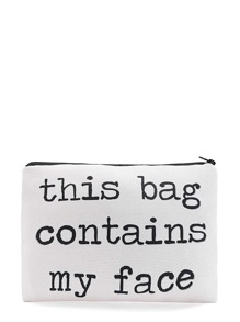 Bolsito de maquillaje con slogan con cremallera