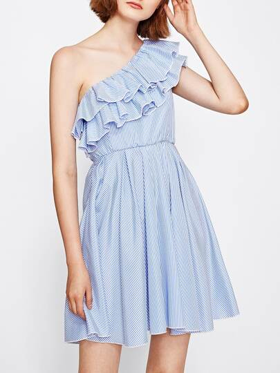 Layered Flounce Trim One Shoulder Pinstripe Dress