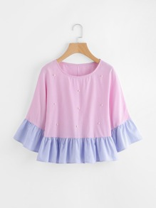 Contrast Frill Trim Vertical Striped Beading Blouse