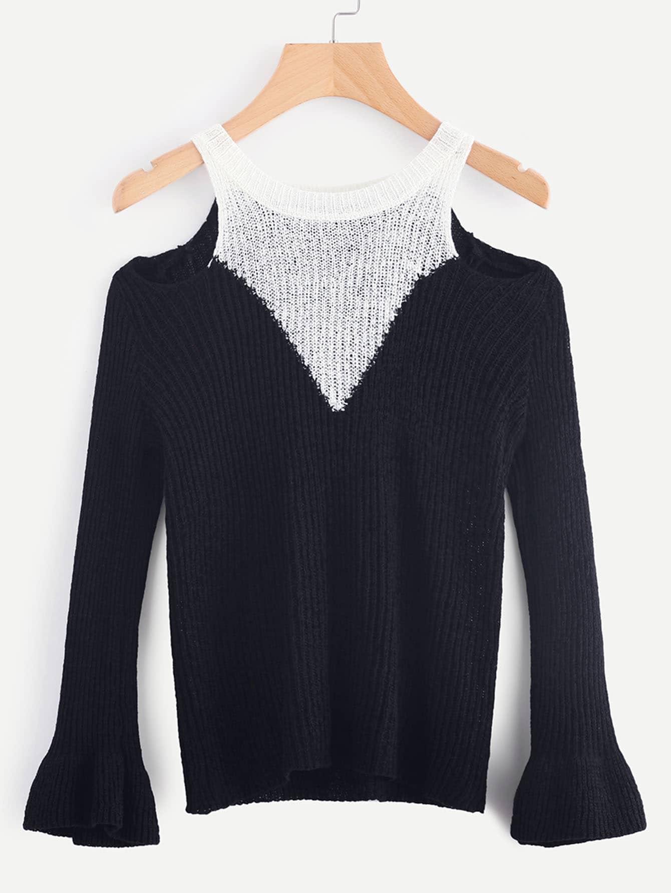 Contrast Panel Open Shoulder Sweater