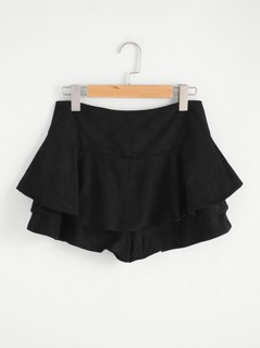 Tiered Suede Skort With Zipper Back
