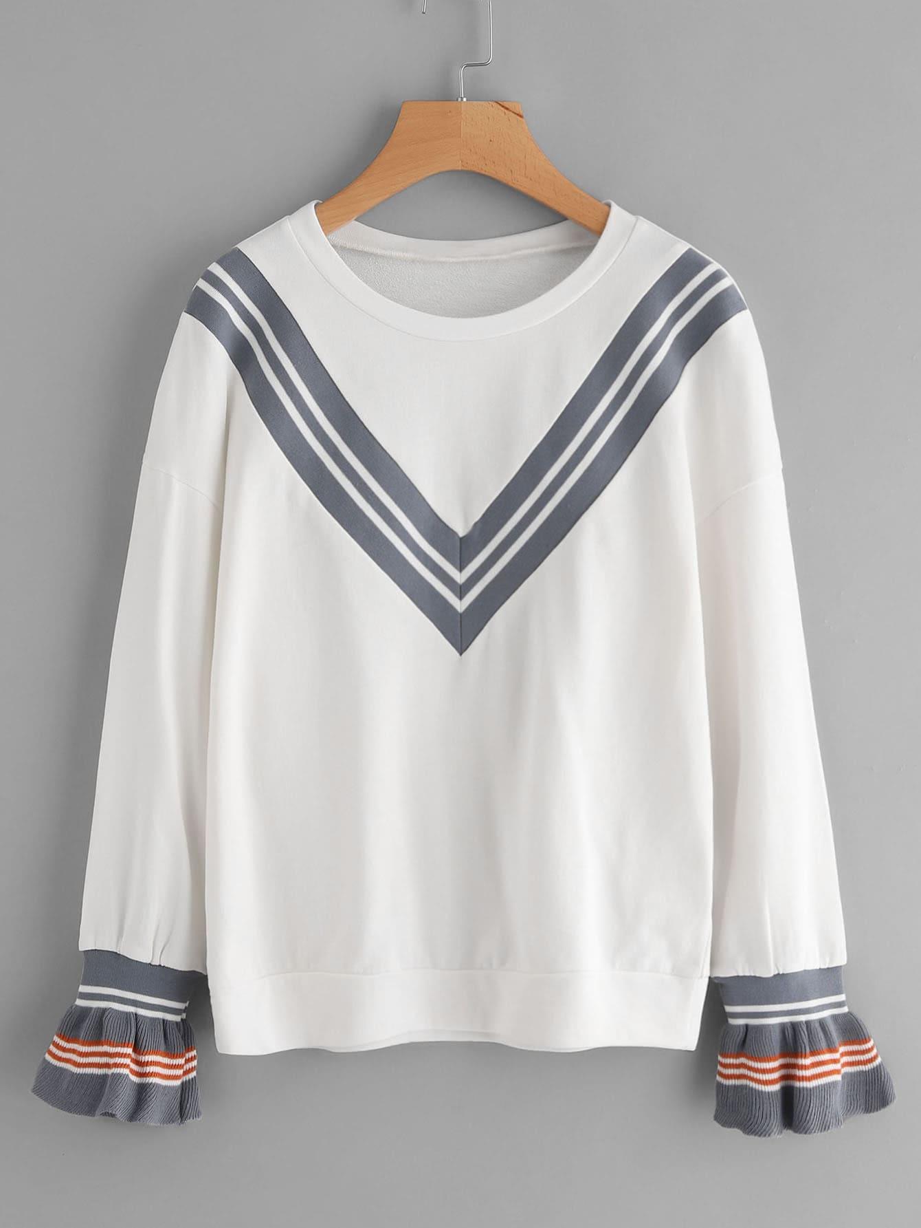 Striped Ribbed Ruffle Cuff Chevron Sweatshirt sweatshirt170901457