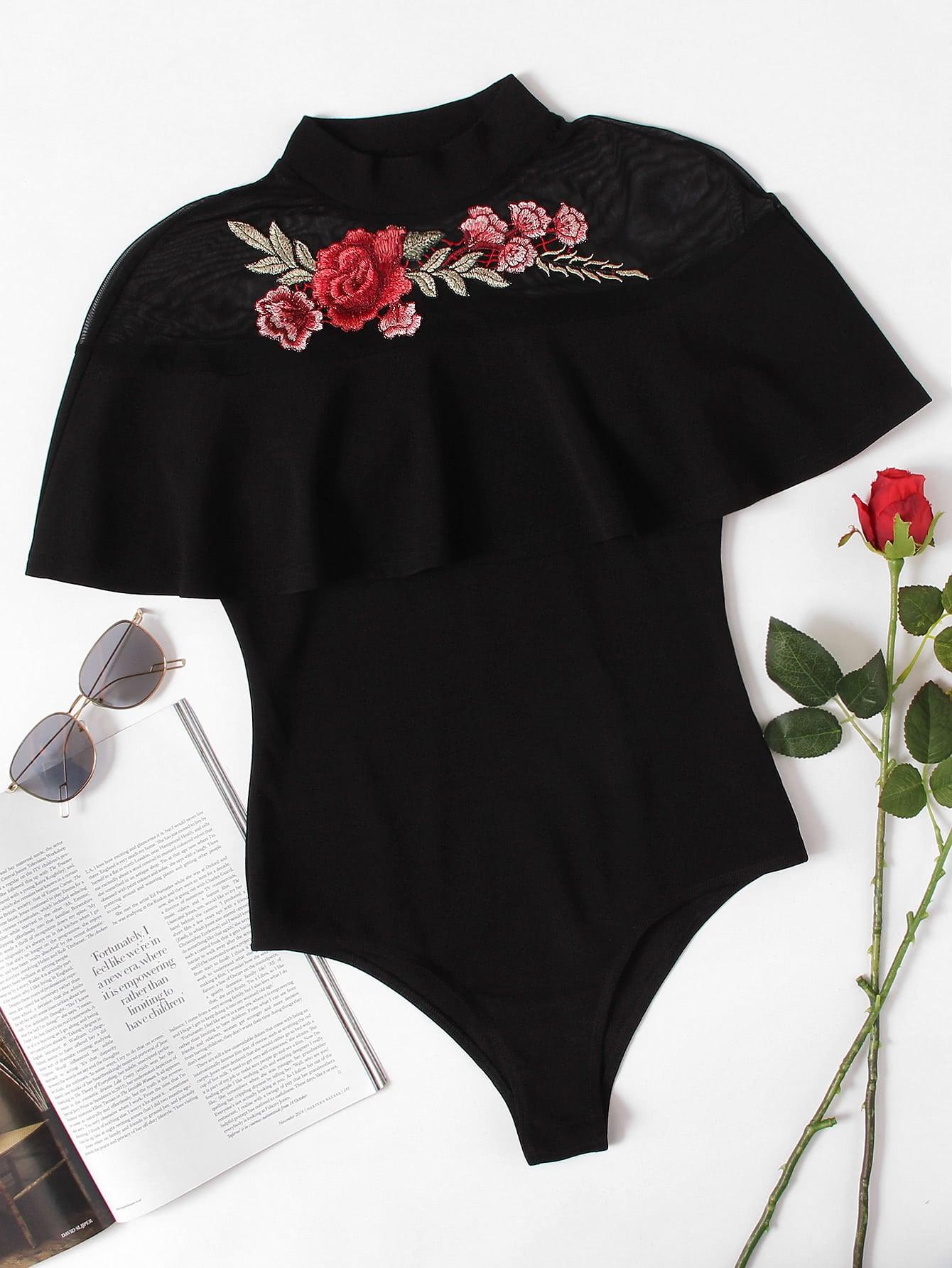 Купить Модное боди с сетчатой вставкой и цветочной вышивкой, null, SheIn