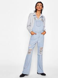 Light Wash Knee Ripped Denim Overalls