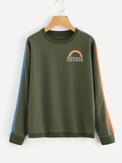 Rainbow-striped Sleeve Letter Print Sweatshirt