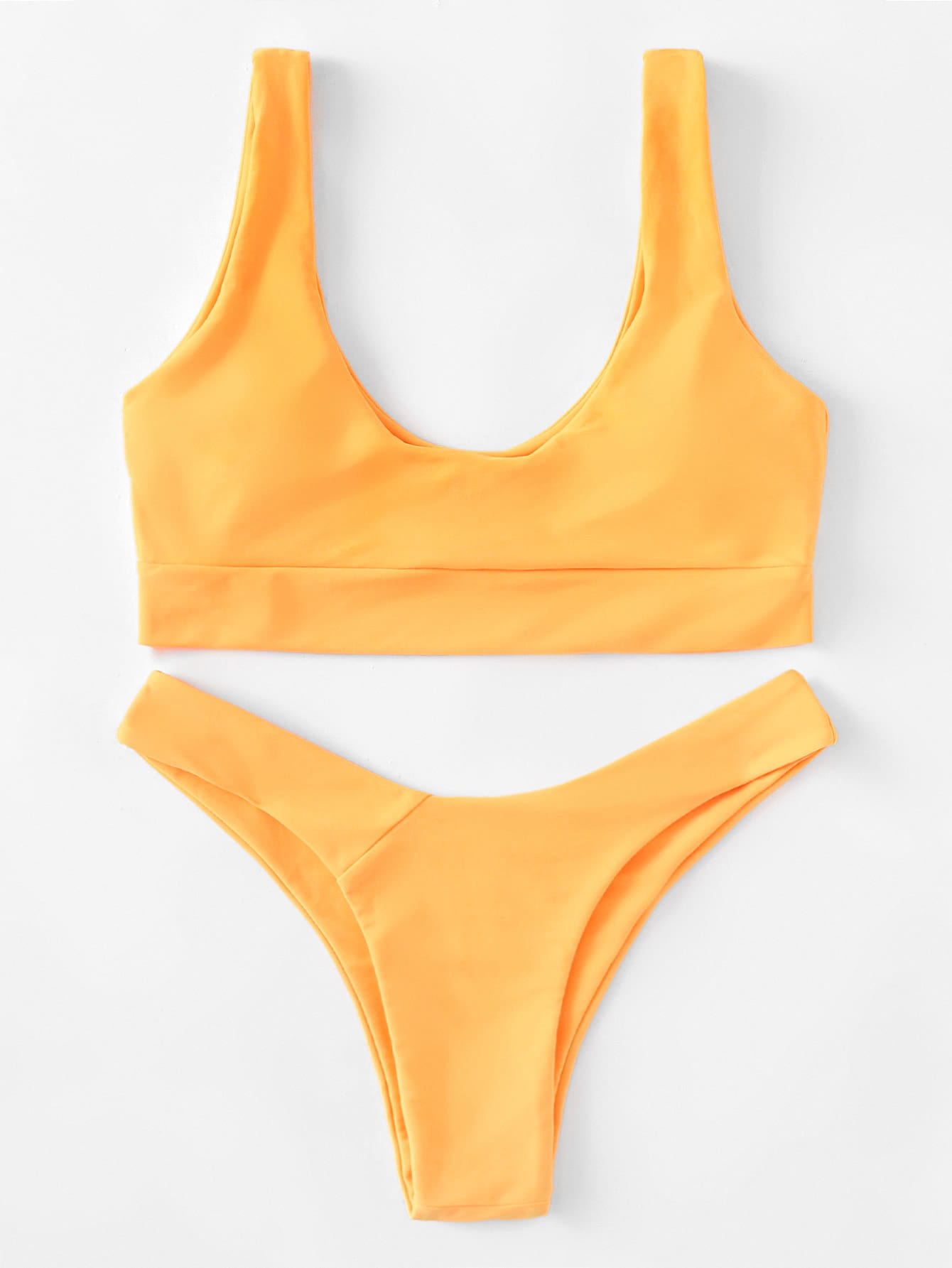 Фото Double Scoop Neck Bikini Set checker knot bikini set