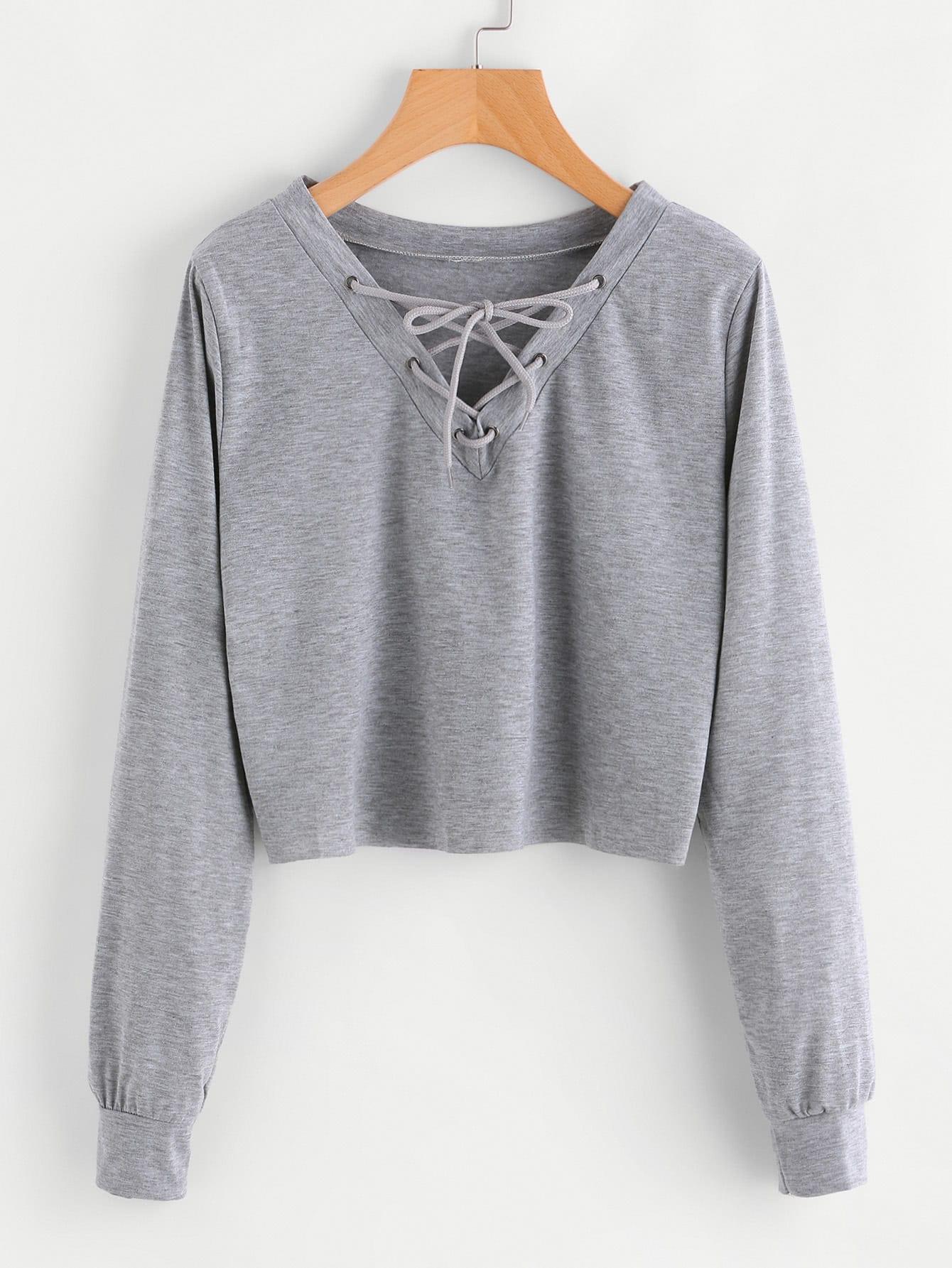 Eyelet Lace Up Sweatshirt
