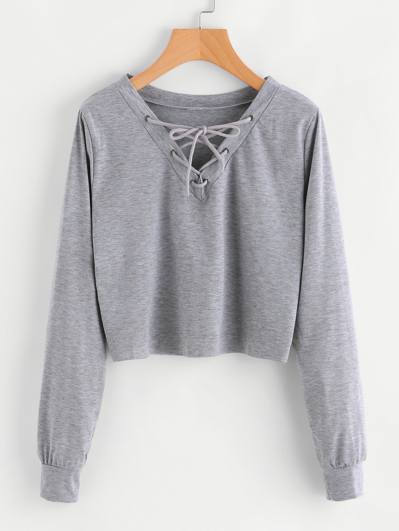 Eyelet Lace Up Sweatshirt