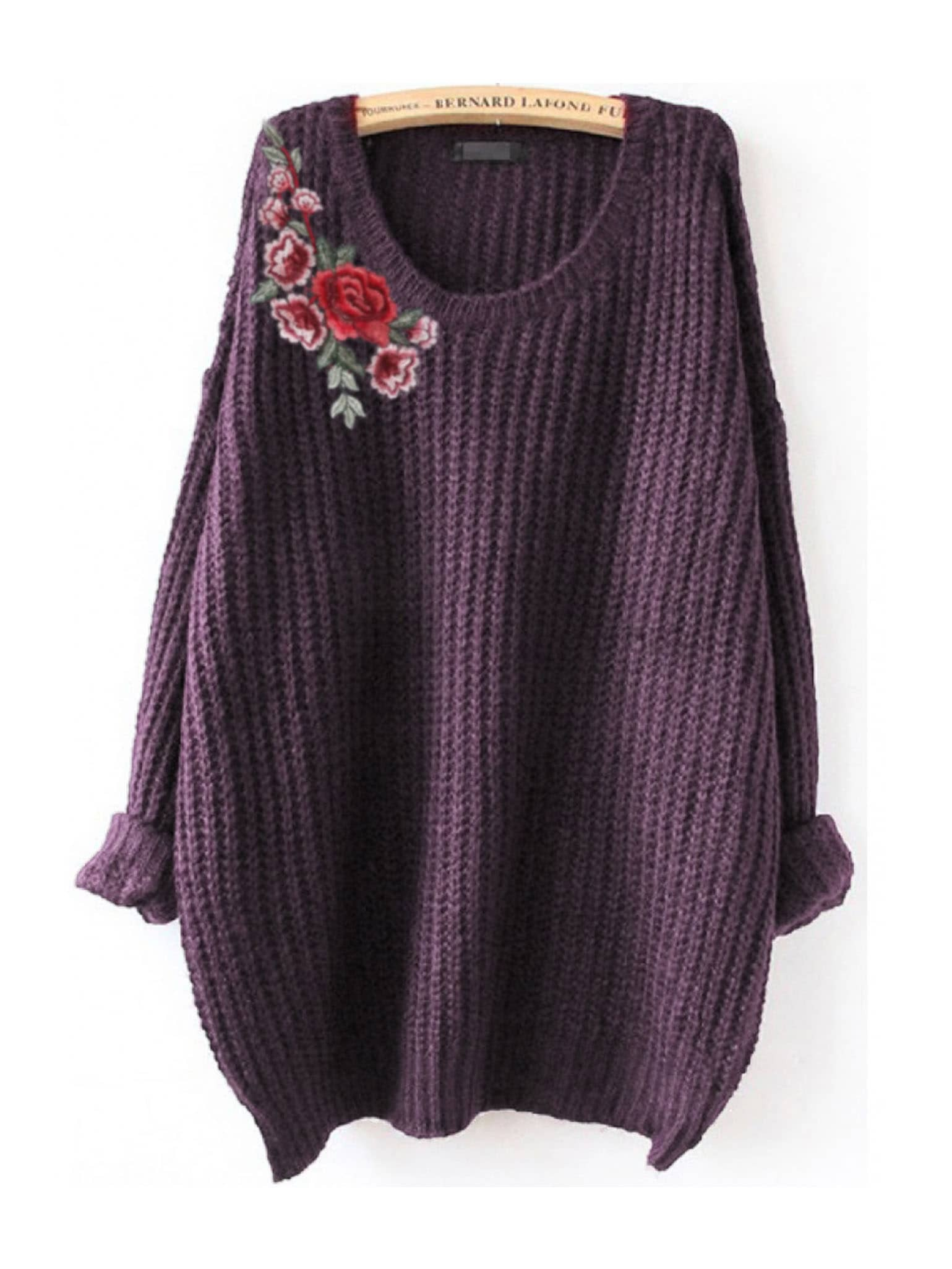 Embroidered Flower Patch Jumper embroidered flower patch jumper