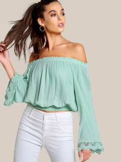 Lace Panel Off Shoulder Top GREEN