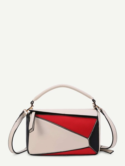 Color Block Asymmetrical Zipper Shoulder Bag