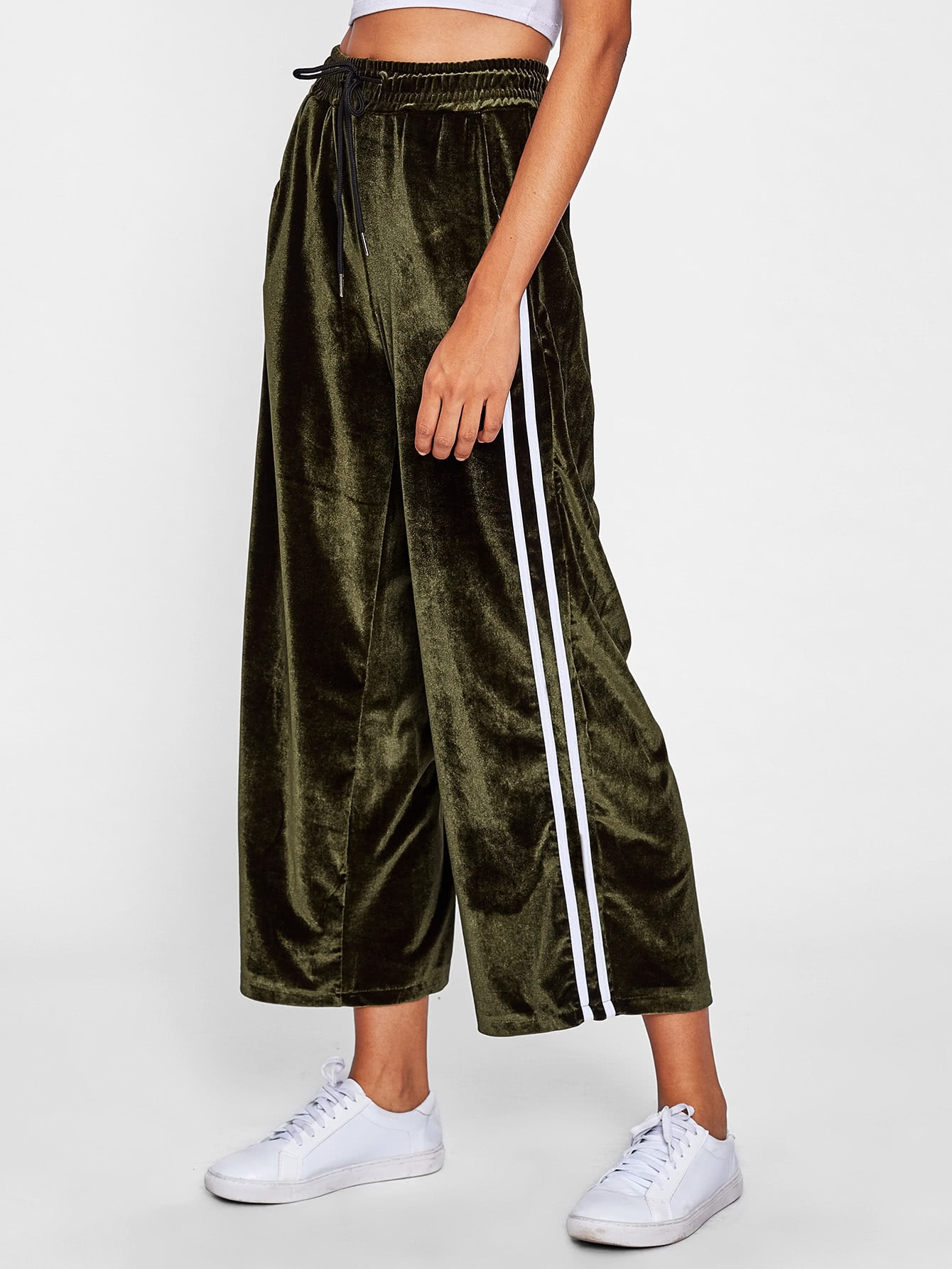 Striped Tape Side Velvet Wide Leg Pants bow tie side wide leg pants
