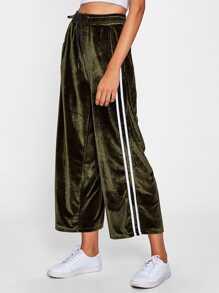 Pantalons jambe large en velours avec bande à rayures
