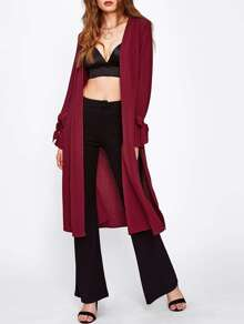 Belted Cuff Slit Side Duster Coat