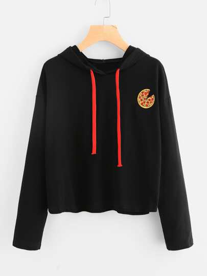 Sweat encapuchonné brodé pizza