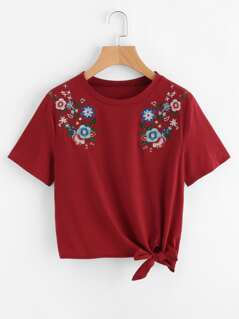 Symmetric Flower Embroidered Knot Hem Tee