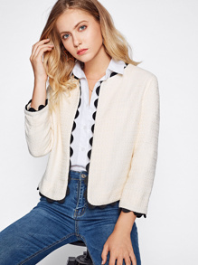 Contrast Scallop Crochet Trim Tweed Blazer