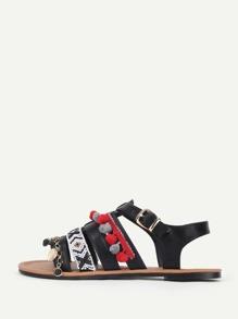 Pom Pom Detail Flat Sandals