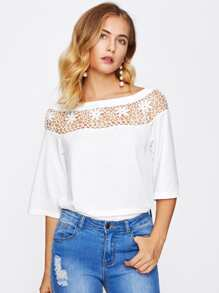 Hollow Out Crochet Panel Tee