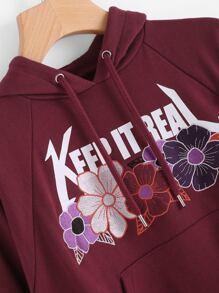 Raglan Sleeve Flower Embroidered Hoodie pictures