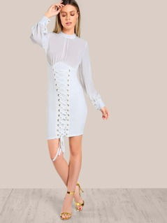 Mesh Top Corset Inpired Dress IVORY