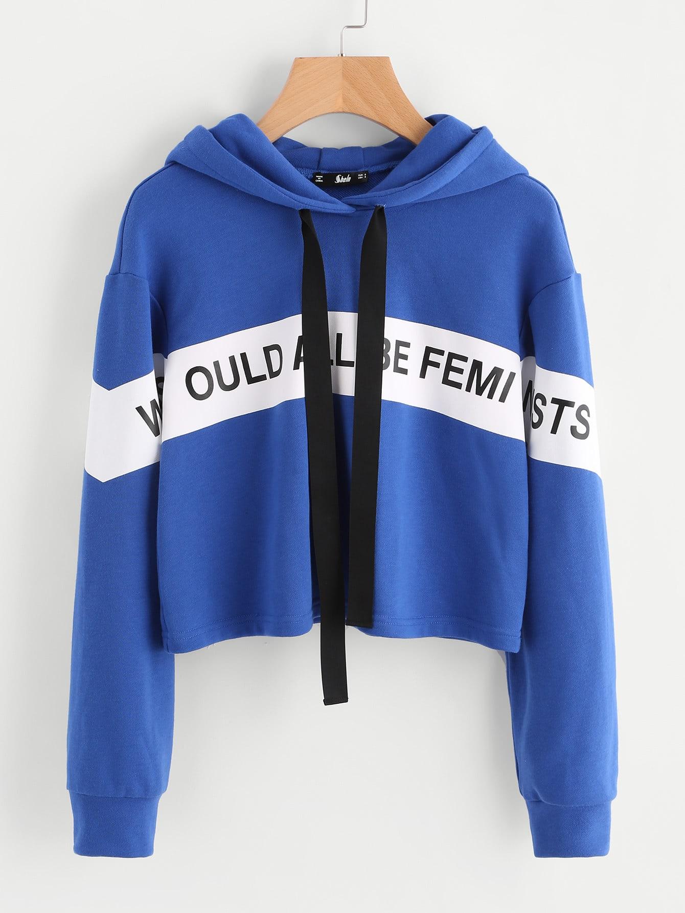 Letter Print Drop Shoulder Hoodie letter print drop shoulder sweatshirt