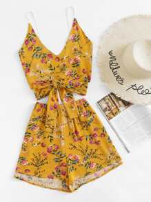 Botanical Print Bow Tie Back Cami Top With Shorts
