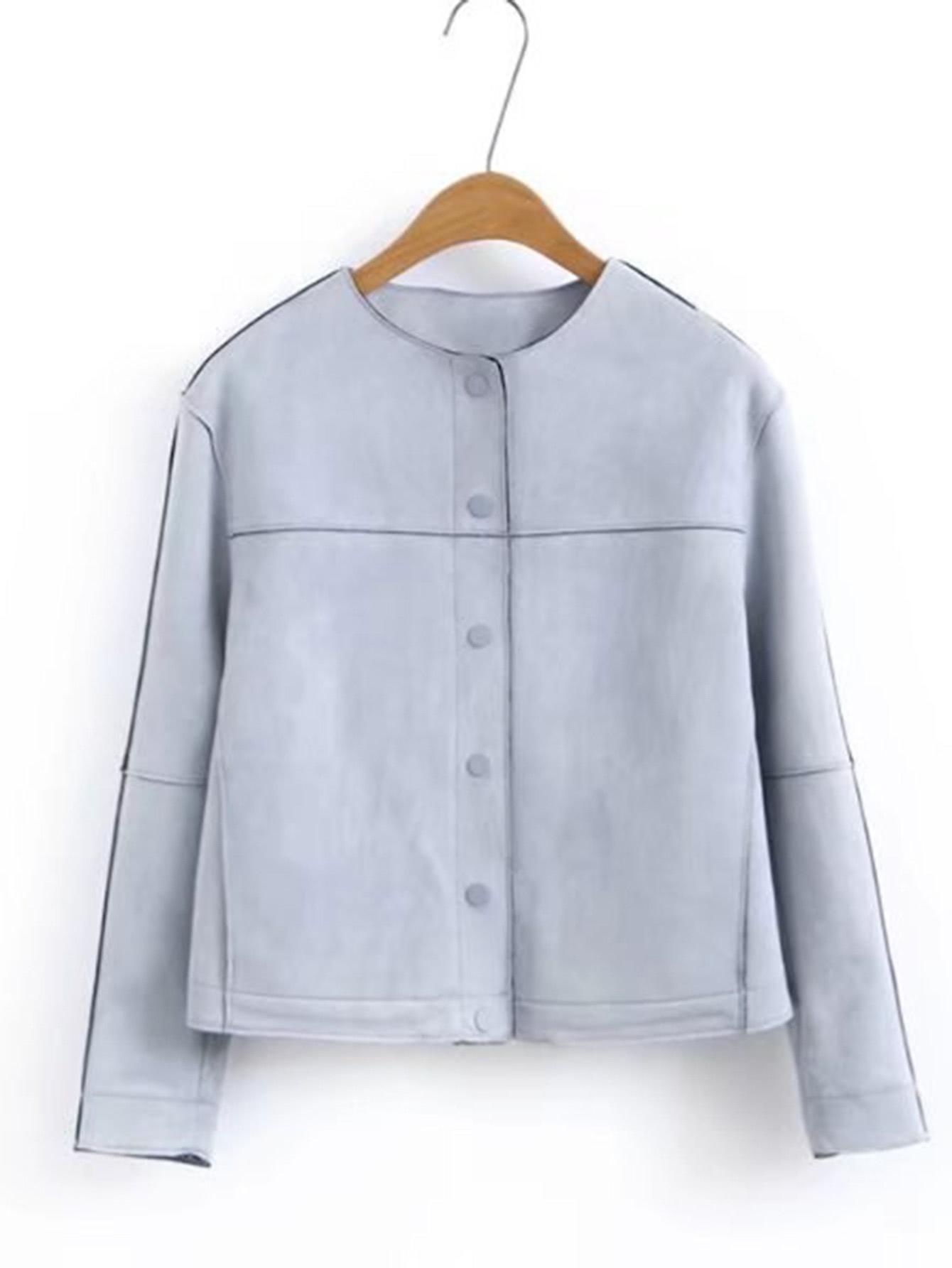 Button Up Seam Suede Jacket