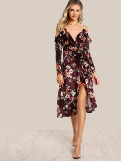 Velvet Cold Shoulder Floral Print Wrap Dress WINE