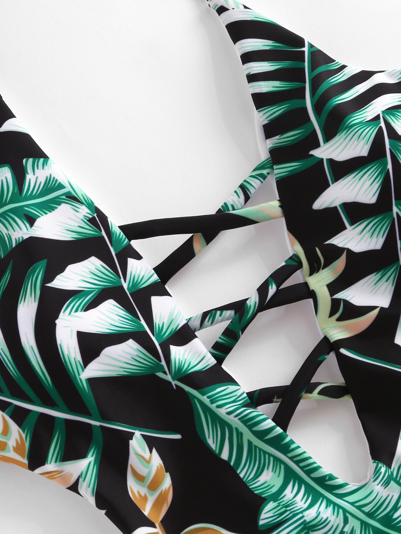 Tropical Print Plunge Neckline Monokini