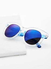 Clear Frame Flash Lens Sunglasses
