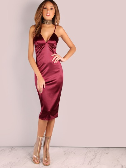 Tiefer V Satin Bodycon Midi Kleid WEIN