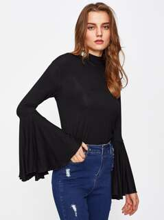 Mock Neck Exaggerate Bell Sleeve Tee