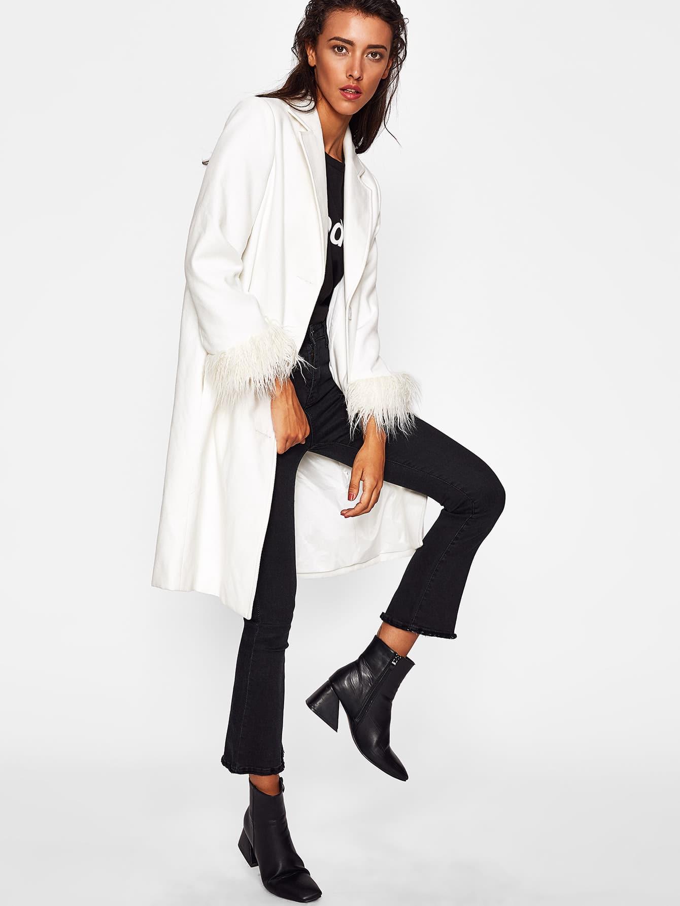 Faux Fur Cuff Notch Collar Longline Coat faux fur cuff drop shoulder raw hem sweatshirt