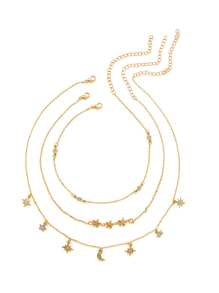 Star & Moon Design Chain Necklace 3pcs