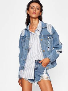 Distressed Boyfriend Denim Jacket