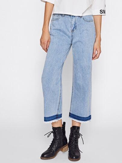 Color Block Light Wash Culotte Jeans