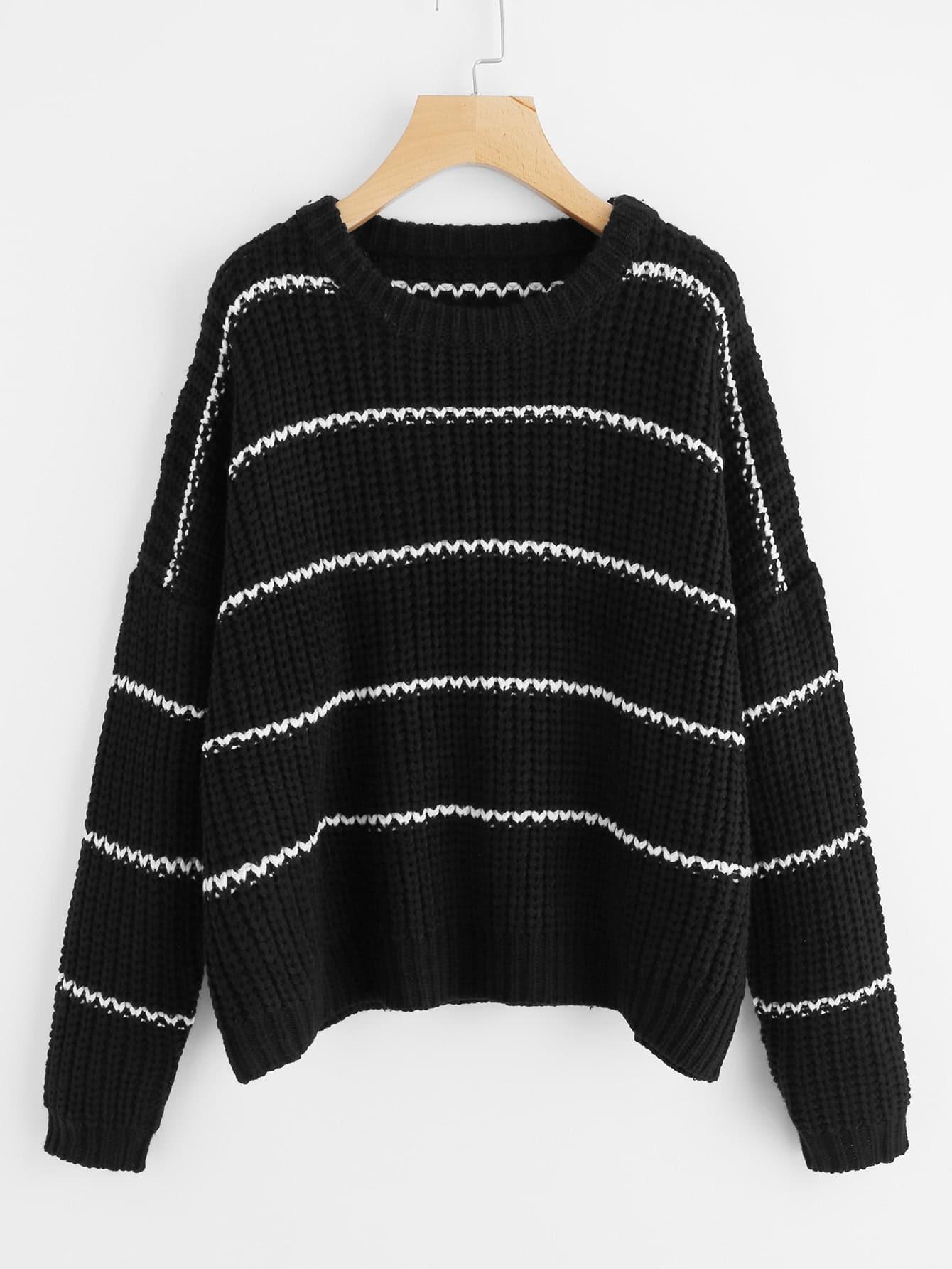Drop Shoulder Striped Jumper plus size drop shoulder striped jumper sweater