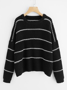 Drop Shoulder Striped Jumper