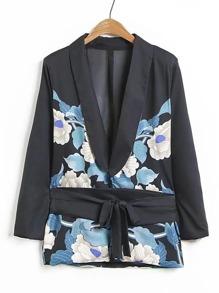 Flower Print Shawl Collar Self Tie Blazer