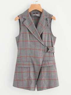 Notch Collar Belted Checkered Wrap Blazer