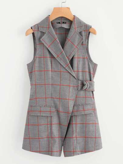 Notch Collar Belted Checkered Wrap Blazer