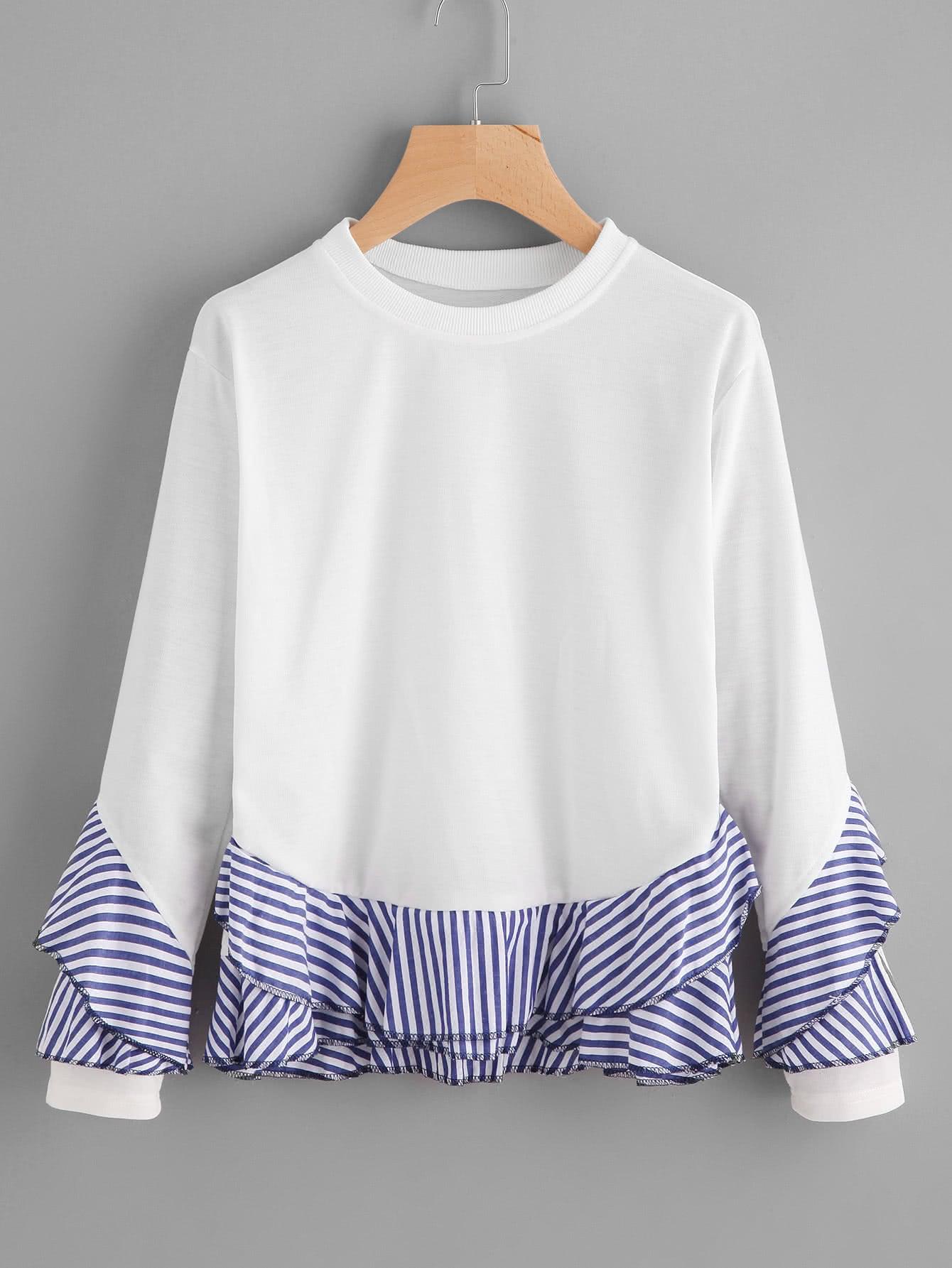 купить Contrast Striped Frill Trim Sweatshirt недорого
