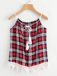 Camisole contrastée à carreaux en dentelle avec un lacet