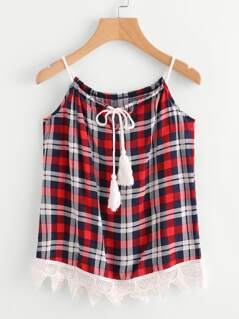 Contrast Lace Hem Plaid Tassel Tie Cami Top