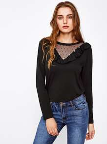 Frill Trim Beaded Dot Mesh Neck Tee