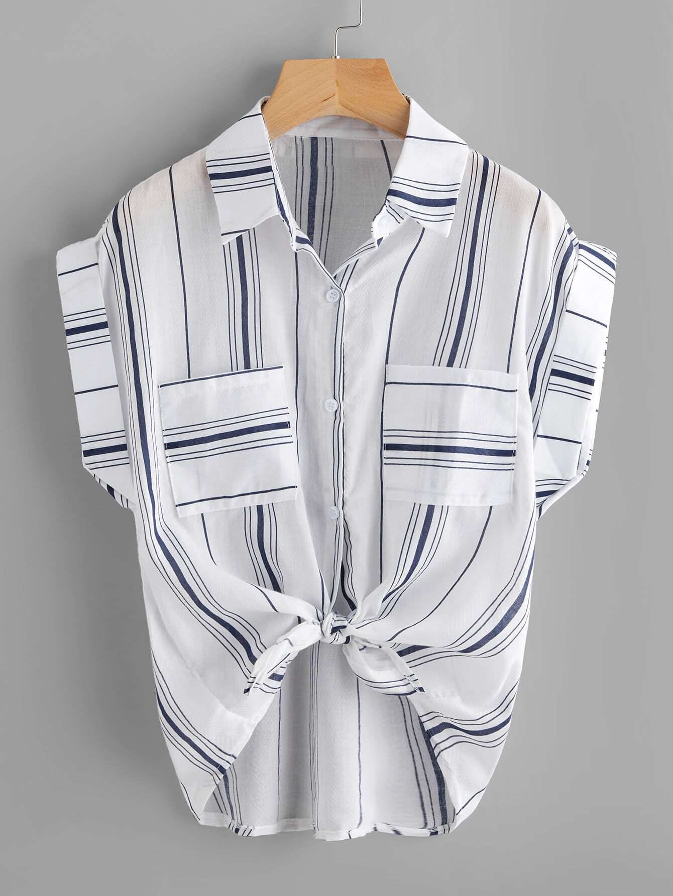 Knotted Hem Cuffed Striped Shirt striped knotted front cuffed shirt with chest pocket